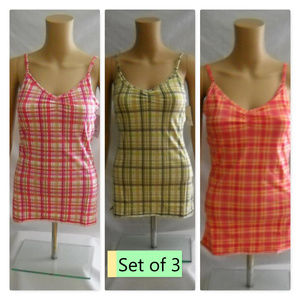 SO 3 Plaid Stretch Tank Cami Tops Juniors Large
